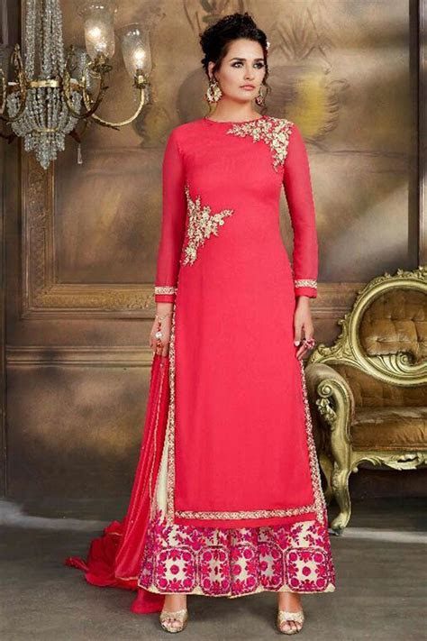 Buy Wedding Function Wear Fancy Red Color Georgette Fabric