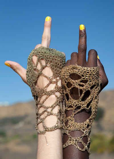crochet gloves jewelry Arielle de Pinto: From Luxury Crochet Jewelry to New Crochet Shoes