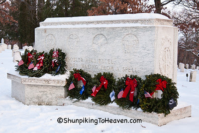 Wreaths on Veterans' Monument, Forest Hill Cemetery, Madison, Wisconsin