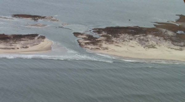 Aerial view of the new Old Inlet across Fire Island from ocean to the Great South Bay.