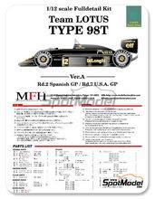 Maqueta de coche 1/12 Model Factory Hiro - Lotus Renault 98T John Player Special - Nº 11, 12 - Gran Premio de España + Norteamérica 1986 - kit Multimaterial
