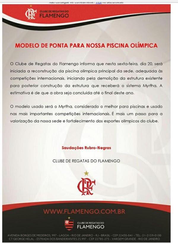 Nota oficial do Flamengo anunciando o início das obras da piscina (Foto: Divulgação/Flamengo)