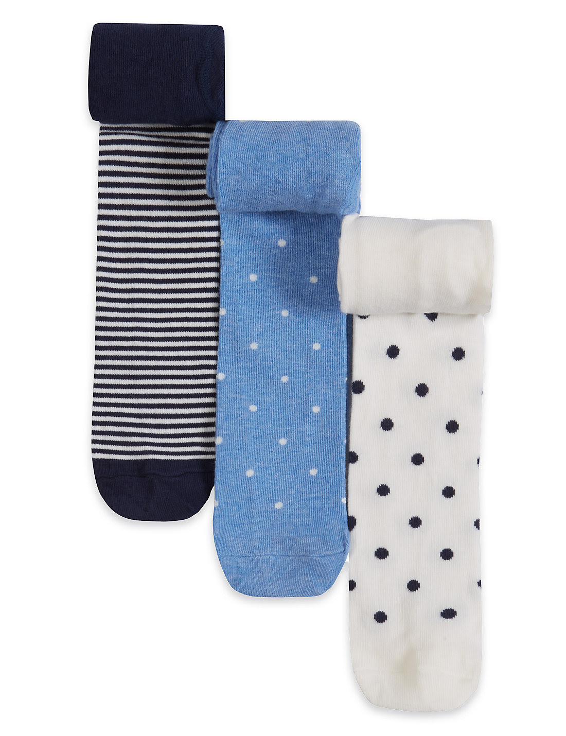 3 Pairs of Cotton Rich Stay Soft Denim Assorted Socks