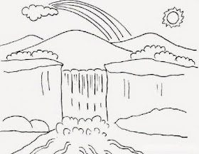 Gambar Pemandangan Gunung Sketsa