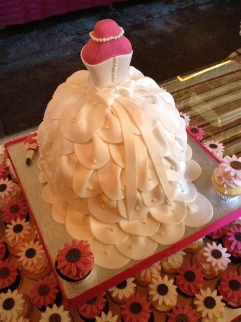 Bridal Shower Wedding Dress Cake With Cupcakes