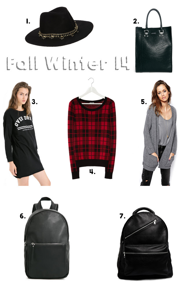 fall winter 14 items from brands like: noisy may, monki, pieces, mango and asos. Elephant fedora black hat, leather backpack, sweater dresses, knitted cardigans inspiration
