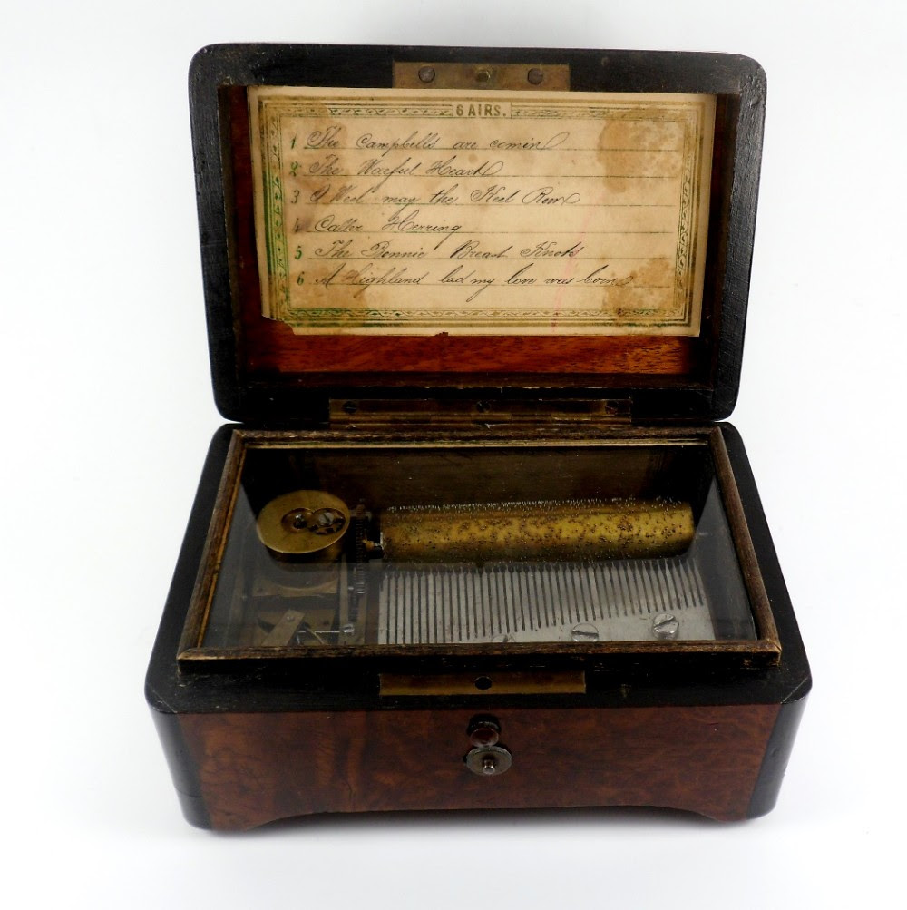 Beautiful Antique Victorian Cylinder Music Box Playing 6 Scottish Airs With Original Key C1870 ...