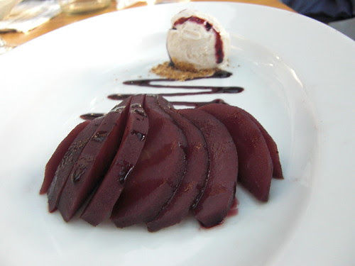 Poached Pear and Vanilla Ice cream