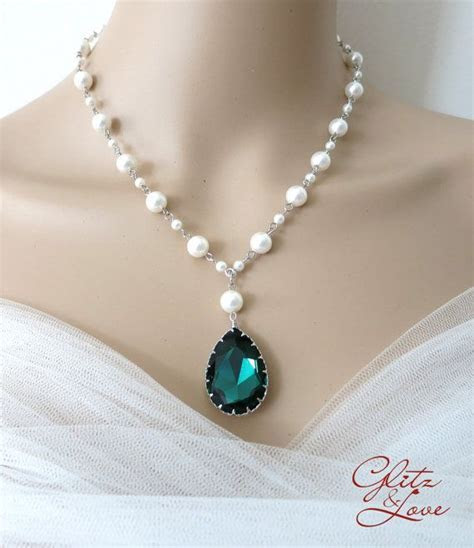 Emerald Teardrop Crystal Pearl Beaded Necklace, Bridal