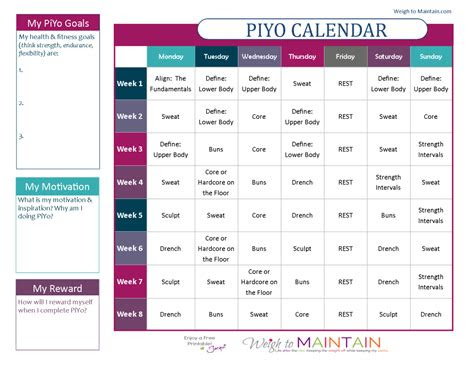 printable piyo calendar  workout schedule health