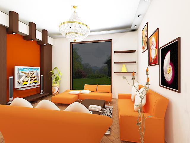 Oustanding Living  Room  Designs with Orange  Motifs