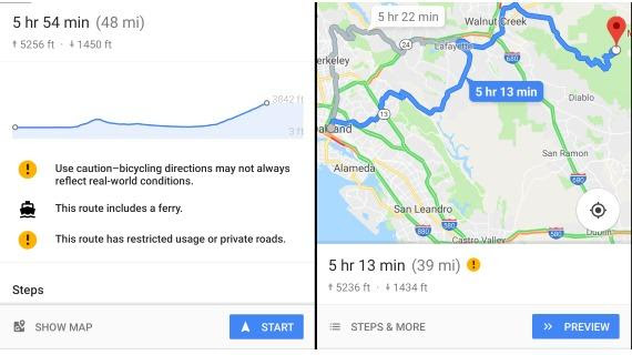Google Maps Mobile App Adds Elevation Chart For Bicycle