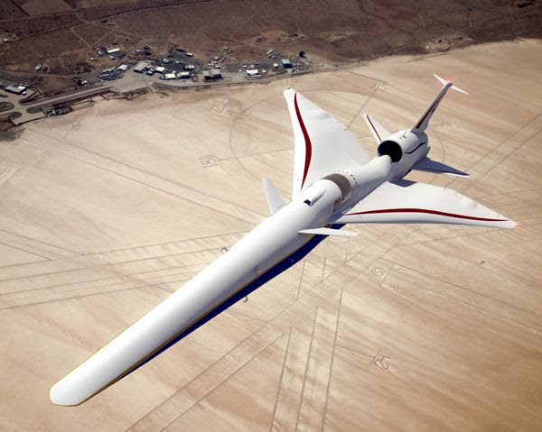 A composite image depicting the X-59 QueSST aircraft soaring above NASA's Armstrong Flight Research Center at Edwards Air Force Base in California.