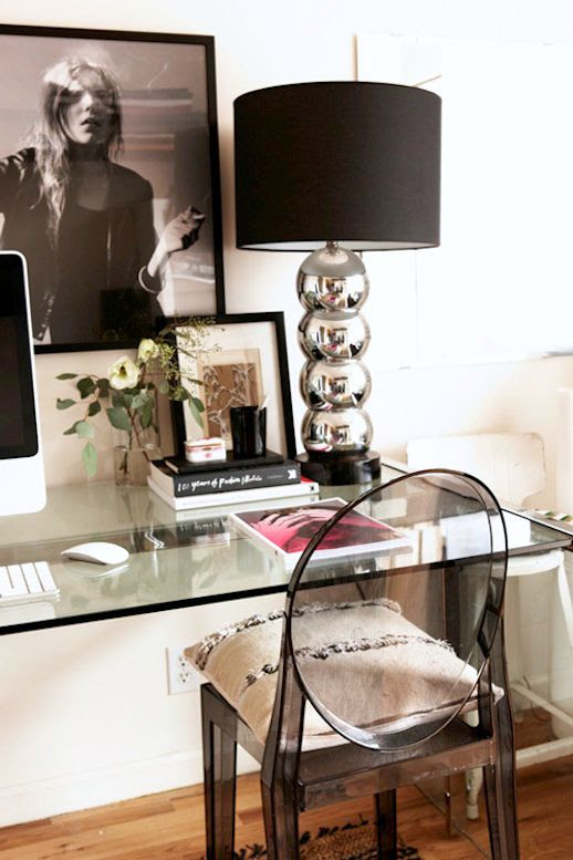 Le Fashion Blog -- A Fashionable Home: Bernadette Pascua's Williamsburg, Brooklyn Apartment -- Office, Fashion Art, Glass Desk, Ghost Chair -- Via Design Sponge photo Le-Fashion-Blog-A-Fashionable-Home-Bernadette-Pascua-Williamsburg-Brooklyn-Apartment-Office-Ghost-Chair-edit.jpg