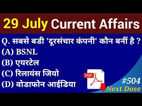 | 29 July 2019 Current Affairs | Daily Current Affairs |