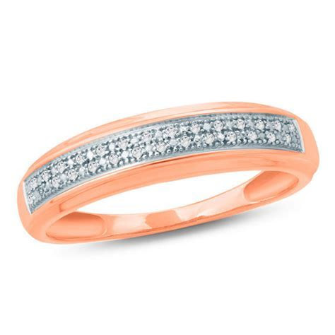 Men's Diamond Accent Double Row Wedding Band in 10K Rose