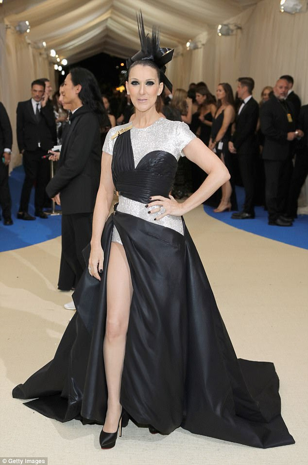 Edgy:Celine Dion sported a seriously bold look for the Met Gala in New York on Monday