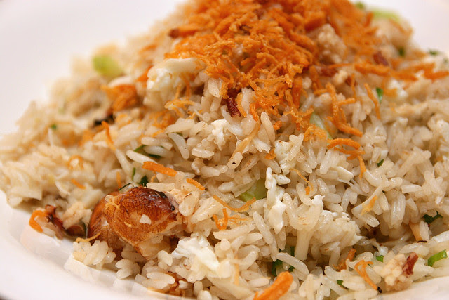 Fried rice with crabmeat, no pork