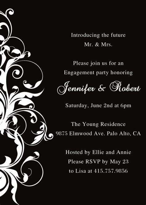 black and white affordable engagement party invitation