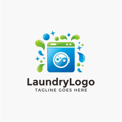 abstract modern laundry logo design template vector