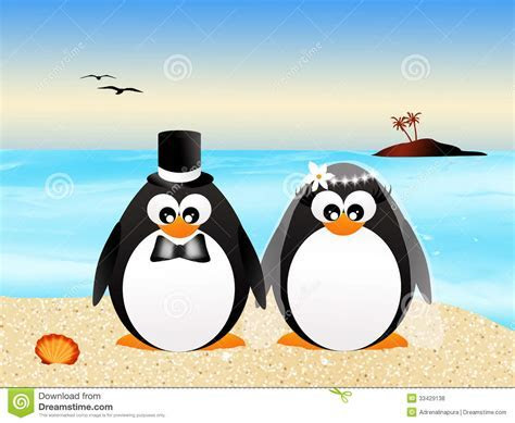 Wedding penguins stock illustration. Illustration of