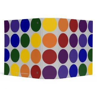 Rainbow Polka Dots on Grey binder