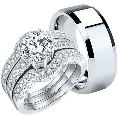 4 Pcs His Tungsten Hers Sterling Silver CZ Wedding