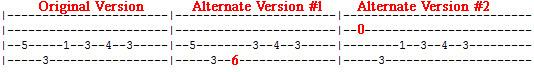 Aqualung bass tab variations
