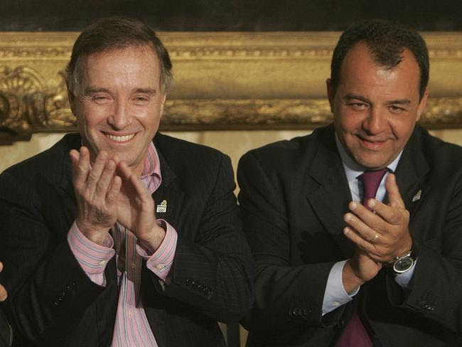 Businessman Eike Batista, left, and Rio de Janeiro's governor Sergio Cabral in a photo from 2009. Picture: AP