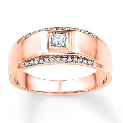 Men's Wedding Band 1/6 ct tw Diamonds 10K Rose Gold
