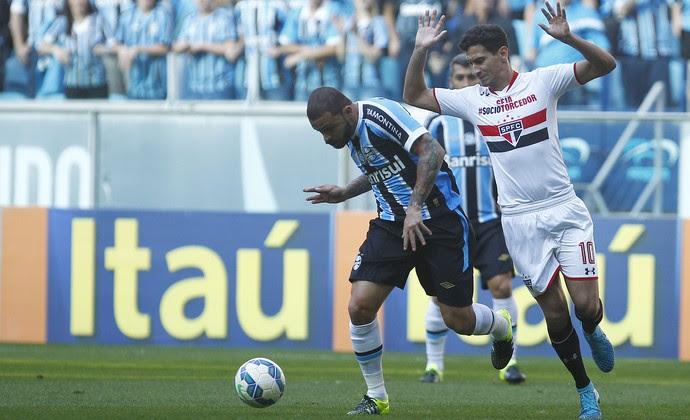 Edinho, Grêmio, São Paulo, Arena (Foto: Lucas Uebel/Grêmio FBPA)
