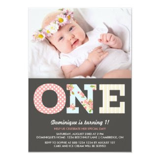 "Girly Shabby Chic First Birthday Photo Invitation 5"" X 7"" Invitation Card"