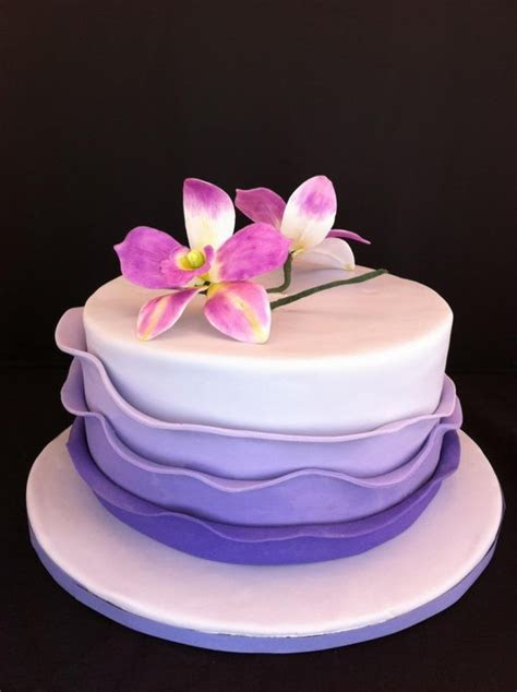 Purple Ruffle Cake With Orchid   CakeCentral.com