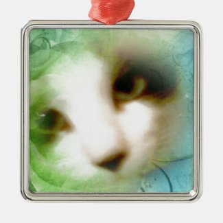 snowshoe natures colors kitty square metal christmas ornament