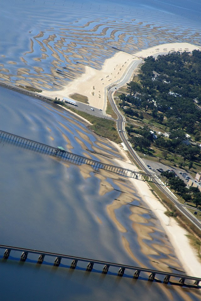 Aerial shot of sandbars near Bay St.Louis, MS (5594542884).jpg