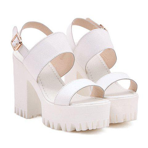 Street Style Chunky Heel and Solid Color Design Women's Sandals