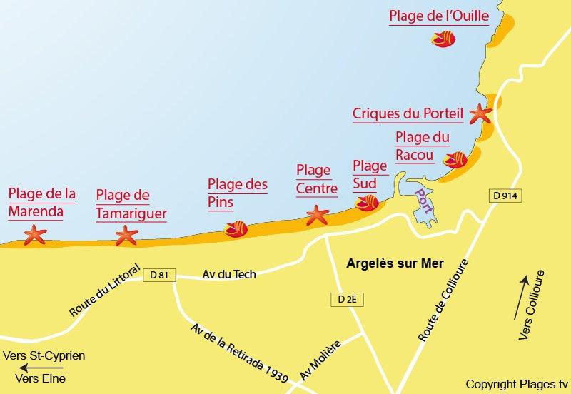 Carte des plages à Argelès sur Mer 66