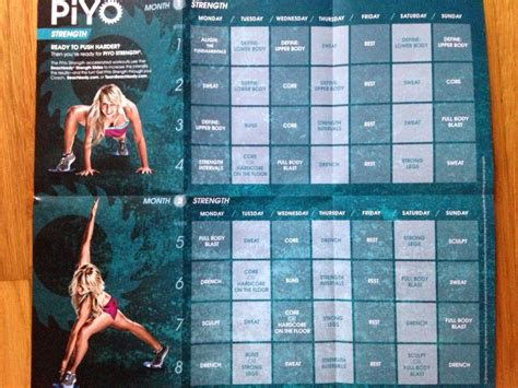 piyo strength workout calendar working   home