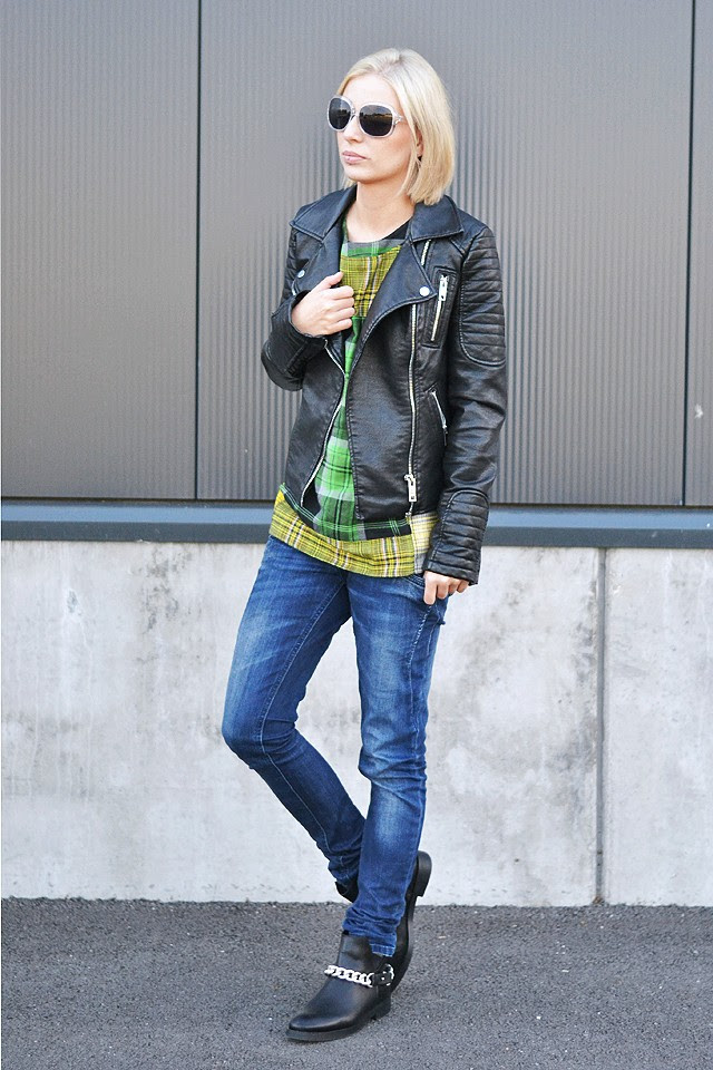 biker style motorcycle look outfit, asos, tartan, checks colors, leather jacker zara 2014, chain boots, givenchy inspired, look a like, knock off, denim jeans, casual outfit, streetstyle, fashionblogger, belgium, belgie