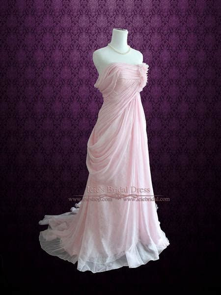 Blush Pink Ethereal Grecian Goddess Off Shoulder Beach