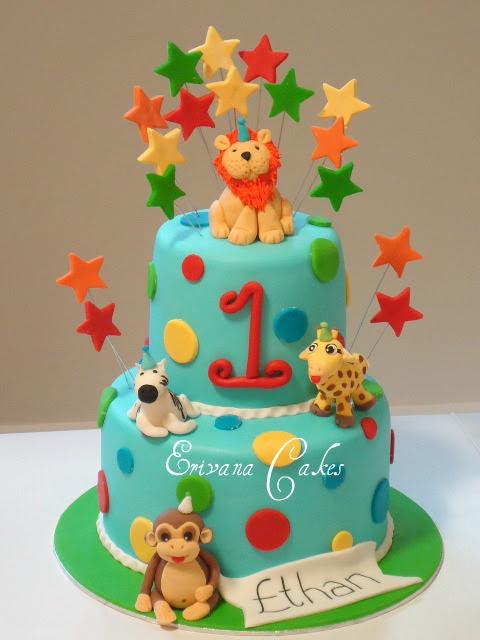 Zoo Animal Birthday Cake Girls