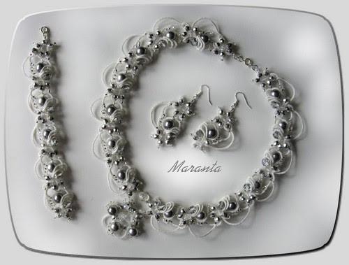 ślubna biżuteria frywolitkowa
