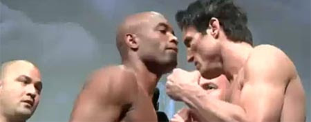 Anderson Silva and Chael Sonnen at weigh-in (Y! Sports screengrab)