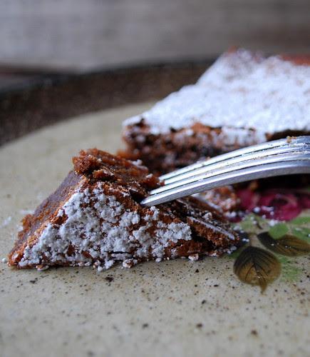 Chocolate Amaretti Cake fork CU