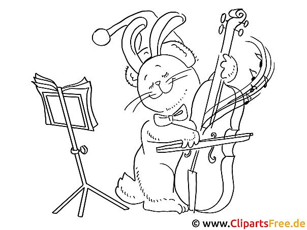 Ausmalen Weihnachten Katze mit Geige musiziert
