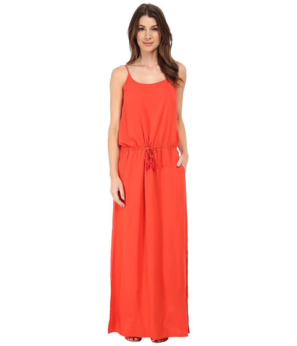 Tommy Bahama - Rayon Maxi Dress w\/ Elastic Waist Band Cover-Up (Hot Spice) Women's Swimwear