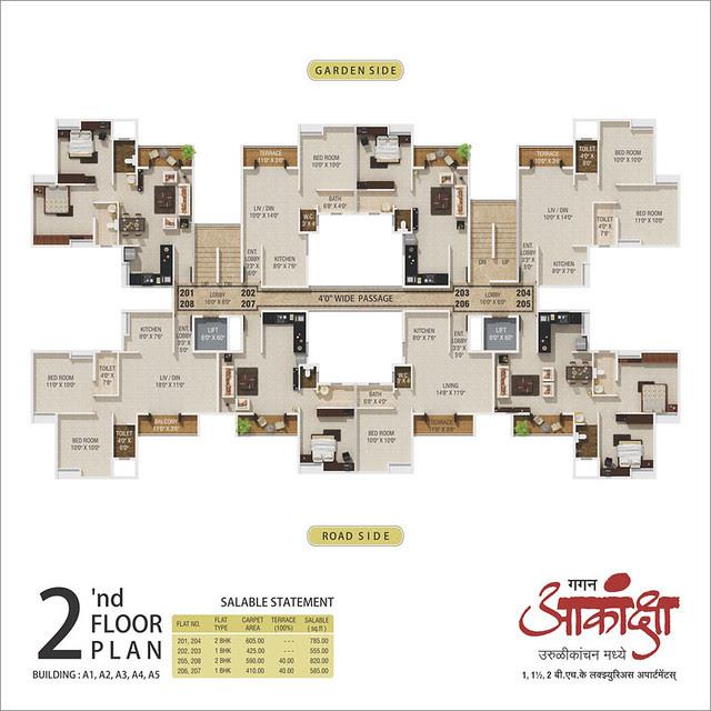 2nd Floor Plan - Gagan Akanksha, 1 BHK 1.5 BHK & 2 BHK Flats near  Prayagdham, at Koregaon Mul, Uruli Kanchan, off Pune Solapur Highway, Pune 412202