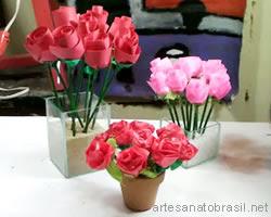 flores passo a passo Lembrancinha de rosa de papel para dia das mães