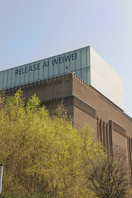 """This is brilliant. Tate Modern's """"Release Ai Weiwei"""" message"""