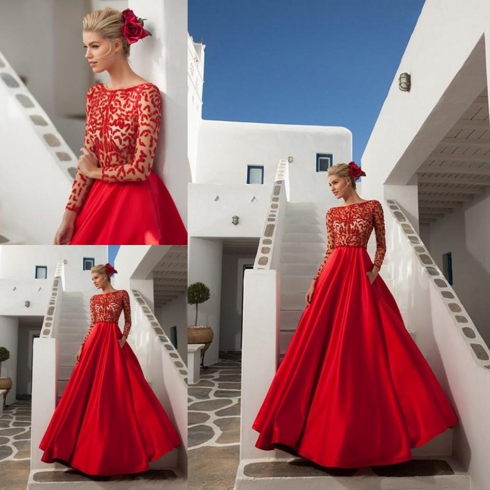 Red ball evening dress